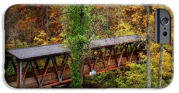 Recently Sold -  - Covered Bridge iPhone Cases - Fall Covered Bridge iPhone Case by Linda D Lester