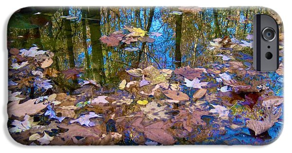Fallen Leaf On Water iPhone Cases - Fall Creek iPhone Case by Pamela Clements