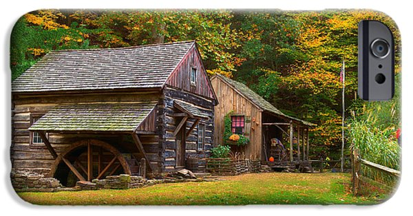 Old Mills iPhone Cases - Fall Down on the Farm iPhone Case by William Jobes