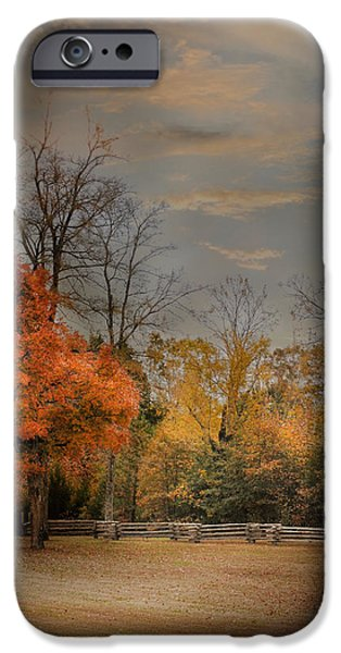 Autumn Scenes iPhone Cases - Fall Fenceline - Autumn Landscape Scene iPhone Case by Jai Johnson