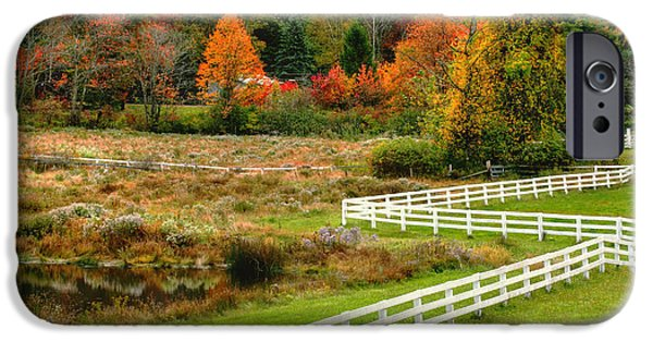 Fall iPhone Cases - Fall Fences iPhone Case by Marcel  J Goetz  Sr