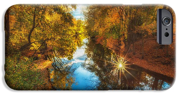 Concord Massachusetts iPhone Cases - Fall filtered reflections iPhone Case by Sylvia J Zarco