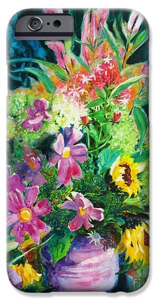 Dark Energy Paintings iPhone Cases - Fall Floral Sweetness iPhone Case by Kathy Braud