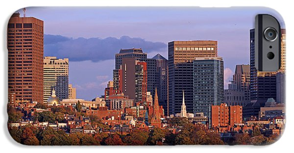 Charles River iPhone Cases - Fall Foliage Colors across Boston Beacon Hill iPhone Case by Juergen Roth