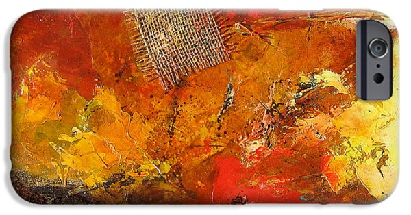 Red Abstract iPhone Cases - Fall Foliage iPhone Case by Elise Palmigiani