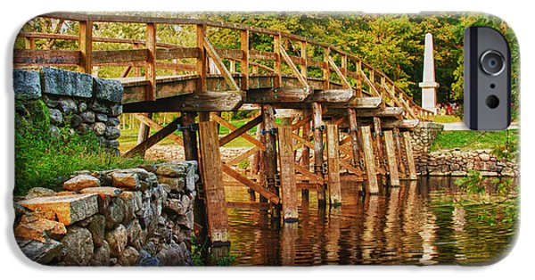 Concord Massachusetts iPhone Cases - Fall foliage over the North bridge iPhone Case by Jeff Folger