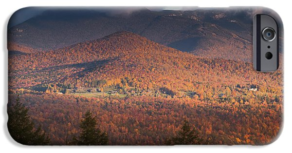 United States iPhone Cases - Fall foliage with Mt. Mansfield in the background. iPhone Case by Don Landwehrle