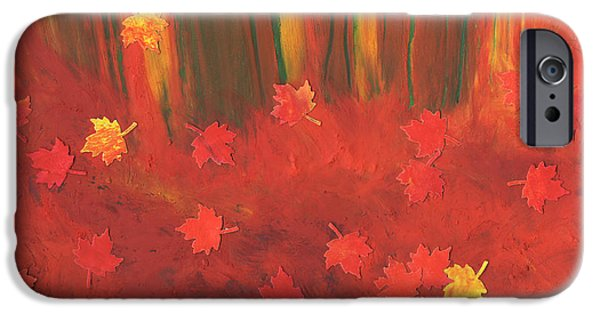 Jrr Pastels iPhone Cases - Fall Forest Floor by jrr iPhone Case by First Star Art