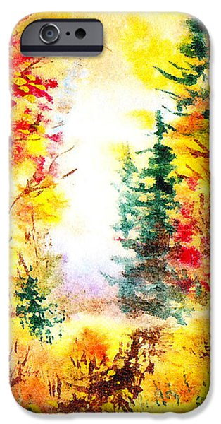 Maple Season Paintings iPhone Cases - Fall Forest iPhone Case by Irina Sztukowski
