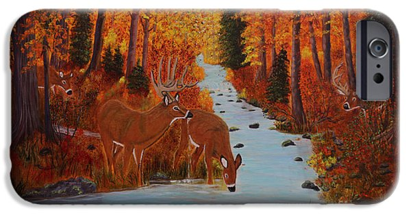 Etc. Paintings iPhone Cases - Fall Forest with Deer iPhone Case by Myrna Walsh