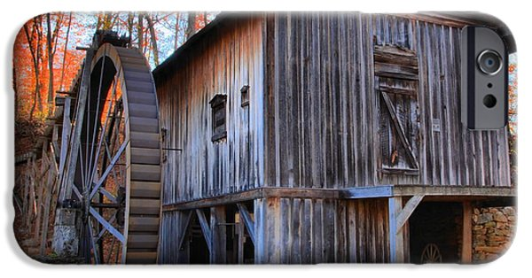 Grist Mill iPhone Cases - Fall Hilights Over The Grist Mill iPhone Case by Adam Jewell