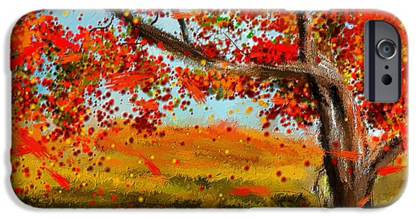 Red Abstract iPhone Cases - Fall Impressions iPhone Case by Lourry Legarde