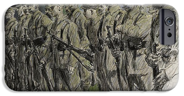 Regiment iPhone Cases - Fall in Norfolk Volunteers iPhone Case by Frank Gillett