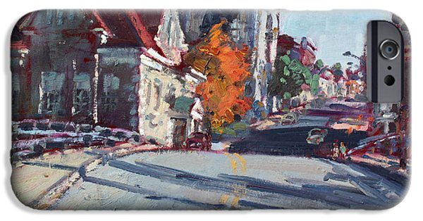 Town iPhone Cases - Fall in Town of Lockport iPhone Case by Ylli Haruni