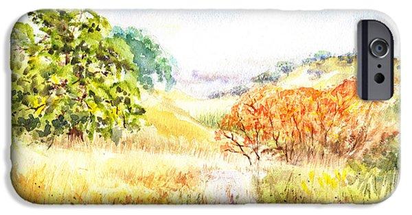 Maple Season Paintings iPhone Cases - Fall Landscape Briones Park California iPhone Case by Irina Sztukowski