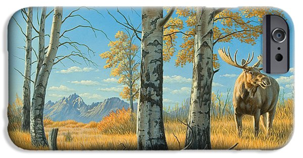National Park Paintings iPhone Cases - Fall Landscape - Moose iPhone Case by Paul Krapf