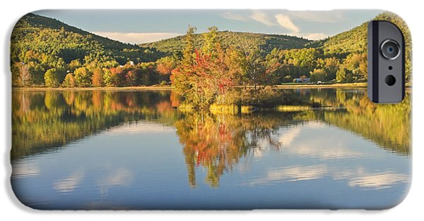 Maine Mountains iPhone Cases - Fall Landscape on Flying Pond in Vienna Maine iPhone Case by Keith Webber Jr