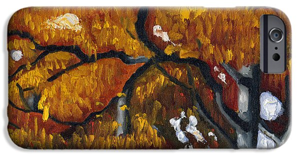 Raw Sienna iPhone Cases - Fall Leaves iPhone Case by Katherine Miller