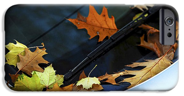 Autumn iPhone Cases - Fall leaves on a car iPhone Case by Elena Elisseeva