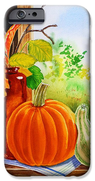 Gourd iPhone Cases - Fall Leaves Pumpkin Gourd iPhone Case by Irina Sztukowski