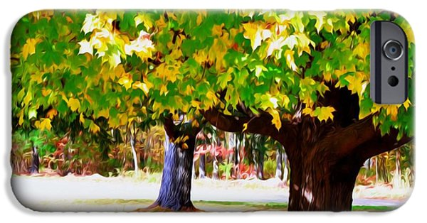 Park Scene Paintings iPhone Cases - Fall leaves trees 1 iPhone Case by Lanjee Chee