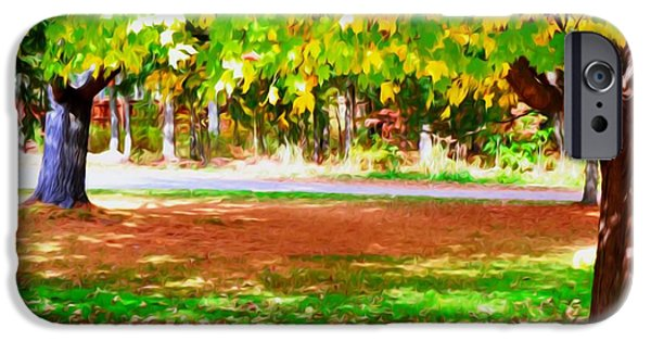 Park Scene Paintings iPhone Cases - Fall Leaves Trees 2 iPhone Case by Lanjee Chee
