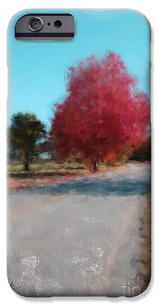 Maine Roads Paintings iPhone Cases - Fall Maine Road 1074 20141006 iPhone Case by Julie Knapp