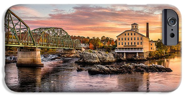Photography Prints iPhone Cases - Fall Morning Across from the Bowdoin Mill iPhone Case by Benjamin Williamson