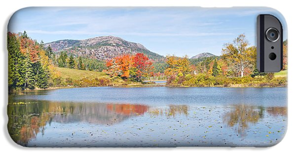 Maine iPhone Cases - Fall on Long Pond Acadia National Park Maine iPhone Case by Keith Webber Jr