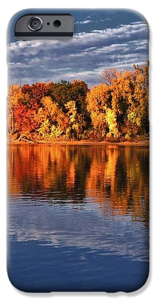 Fall on the Mississippi river iPhone Case by Todd and candice Dailey