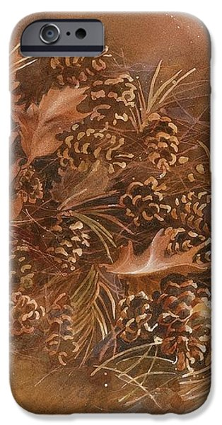 Fall pinecones iPhone Case by Paula Marsh