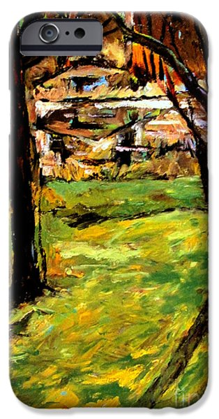 Remnants Paintings iPhone Cases - Fall Pond iPhone Case by Charlie Spear