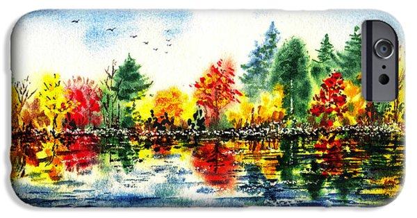 Maple Season Paintings iPhone Cases - Fall Reflections iPhone Case by Irina Sztukowski