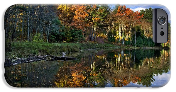 Upstate New York iPhone Cases - Fall Reflections Landscape iPhone Case by Christina Rollo