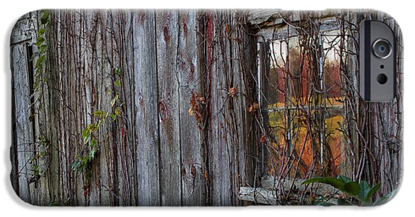 Old Barns iPhone Cases - Fall Reflections on Weathered Glass iPhone Case by John Vose