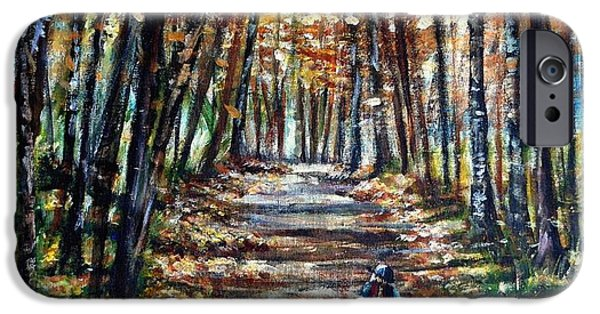 Maine Roads Paintings iPhone Cases - Fall Ride iPhone Case by Shana Rowe