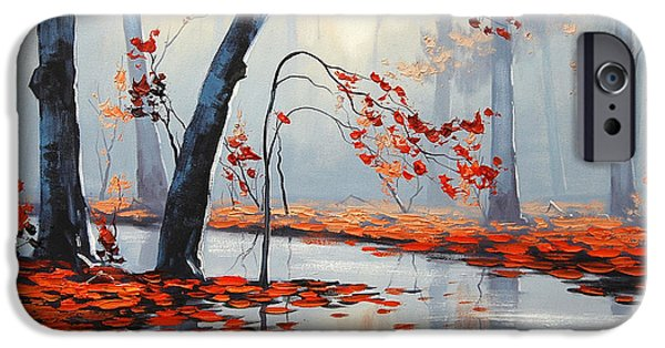 Fiery iPhone Cases - Fall River Painting iPhone Case by Graham Gercken