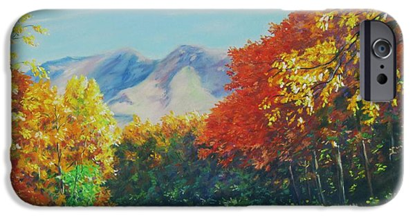Fall Pastels iPhone Cases - Fall Scene - Mountain Drive iPhone Case by John Clark