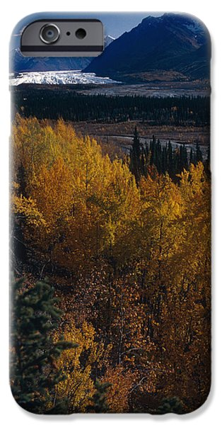 Matanuska iPhone Cases - Fall Scenic Matanuska Glacier Chugach iPhone Case by Jeff Schultz