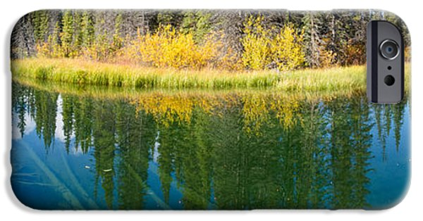 Willow Lake iPhone Cases - Fall sky mirrored on calm clear taiga wetland pond iPhone Case by Stephan Pietzko