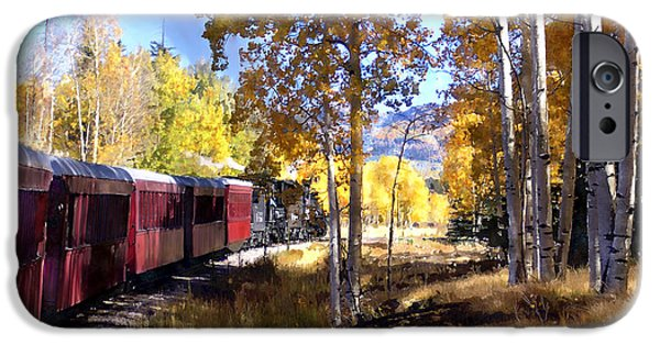 Railway Locomotive iPhone Cases - Fall Train Ride New Mexico iPhone Case by Kurt Van Wagner