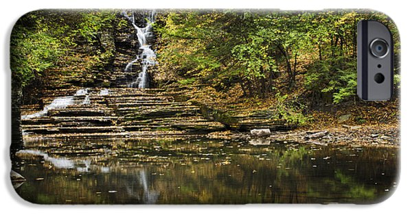 Buttermilk Falls iPhone Cases - Fall Waterfall Creek Reflection iPhone Case by Christina Rollo