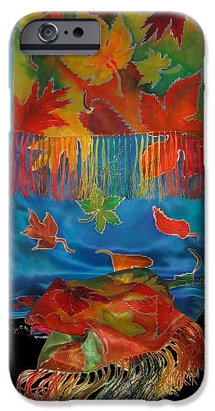 Fall Tapestries - Textiles iPhone Cases - Fall Waterfall Scarf iPhone Case by Annelle Woggon