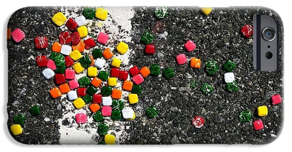 Asphalt iPhone Cases - Fallen Candy on Road iPhone Case by Amy Cicconi