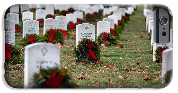 Soldiers National Cemetery Digital iPhone Cases - Fallen heroes honor and remember iPhone Case by Eduard Moldoveanu
