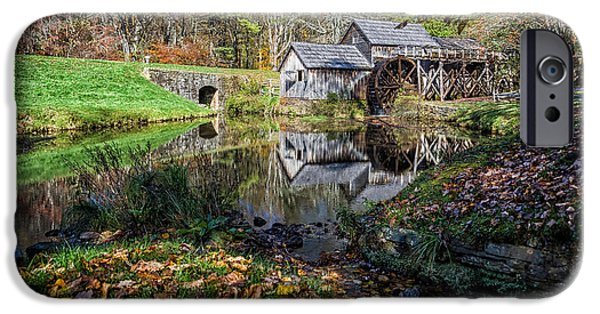 Grist Mill iPhone Cases - Fallen Leaves at Mabry Mill iPhone Case by Lori Coleman