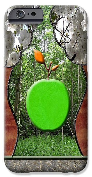 Tree Roots Mixed Media iPhone Cases - Falling Apple iPhone Case by Patrick J Murphy