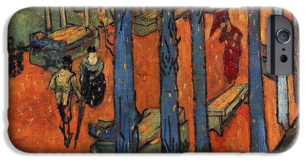 Falling iPhone Cases - Falling autumn leaves iPhone Case by Vincent van Gogh