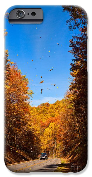 Falling Fall Leaves - Blue Ridge Parkway iPhone Case by Dan Carmichael