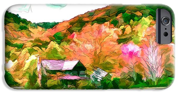 Shed Drawings iPhone Cases - Falling Farm Blended Art Styles iPhone Case by John Haldane